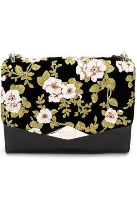 Женская сумка palais royal с вышивкой и отделкой бархатом ROCHAS черного цвета, арт. R0BI855167/RI390640A | Фото 1
