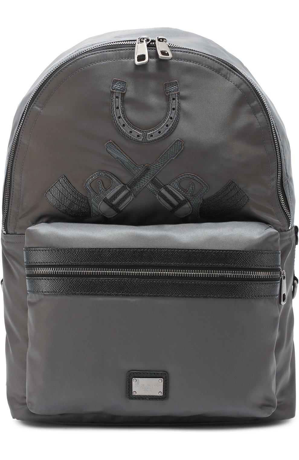 Рюкзак Vulcano с нашивками и отделкой из натуральной кожи | Фото №1