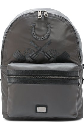 Рюкзак Vulcano с нашивками и отделкой из натуральной кожи Dolce & Gabbana серый | Фото №1