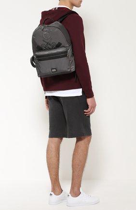 Рюкзак Vulcano с нашивками и отделкой из натуральной кожи Dolce & Gabbana серый | Фото №2
