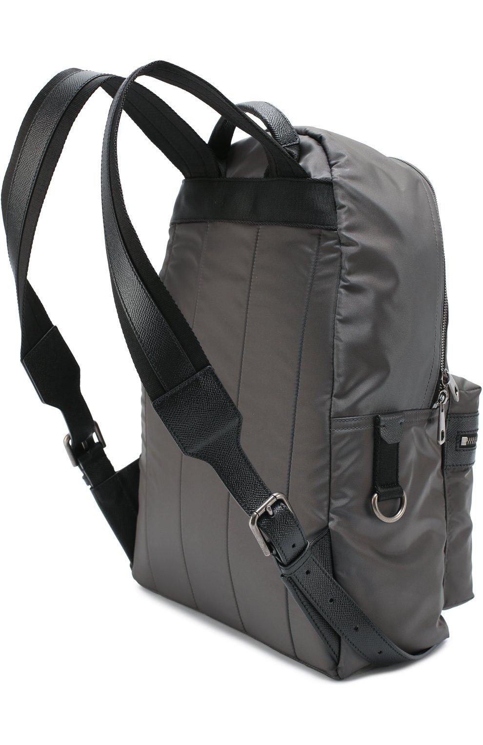 Рюкзак Vulcano с нашивками и отделкой из натуральной кожи Dolce & Gabbana серый | Фото №3