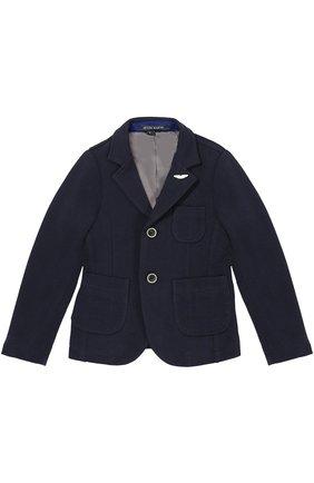Детский хлопковый однобортный пиджак Aston Martin синего цвета | Фото №1