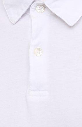 Мужское хлопковое поло JAMES PERSE белого цвета, арт. MSX3337   Фото 5 (Застежка: Пуговицы; Рукава: Короткие; Длина (для топов): Удлиненные; Материал внешний: Хлопок; Статус проверки: Проверено, Проверена категория)