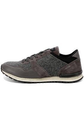 Замшевые кроссовки на рельефной подошве Tod's серые | Фото №1