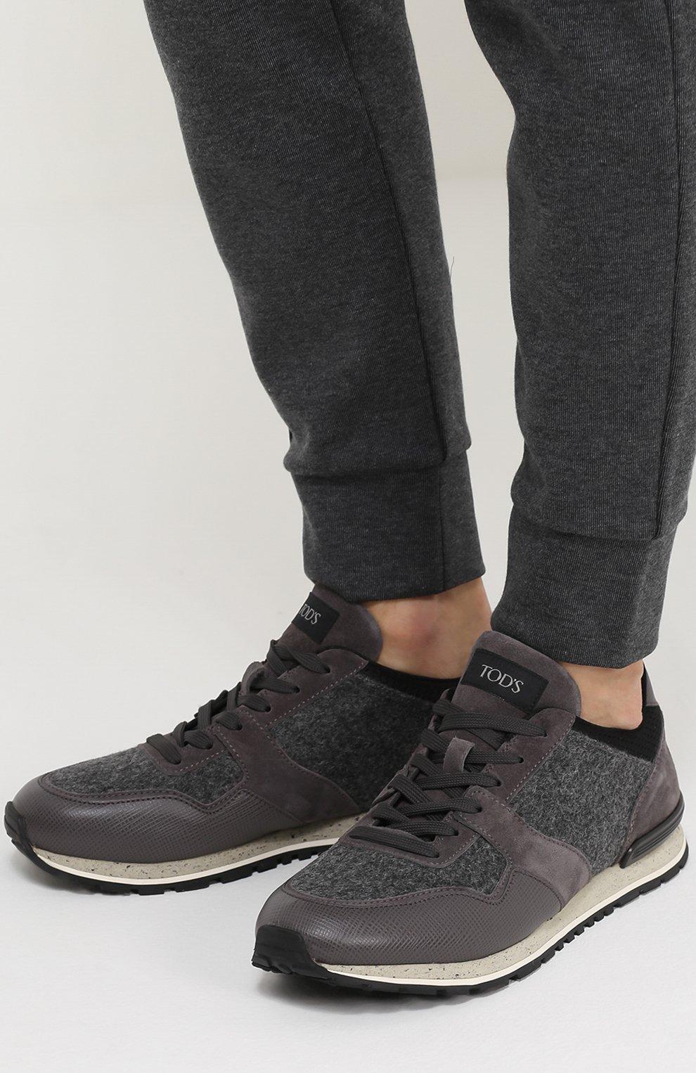 Замшевые кроссовки на рельефной подошве Tod's серые | Фото №2