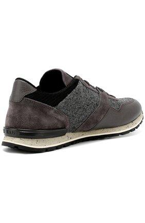 Замшевые кроссовки на рельефной подошве Tod's серые | Фото №5