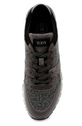 Замшевые кроссовки на рельефной подошве Tod's серые | Фото №6