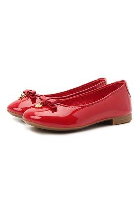 Детские лаковые балетки DOLCE & GABBANA красного цвета, арт. 0132/D10341/A1328/19-28   Фото 1 (Статус проверки: Проверено, Проверена категория; Материал внутренний: Натуральная кожа)