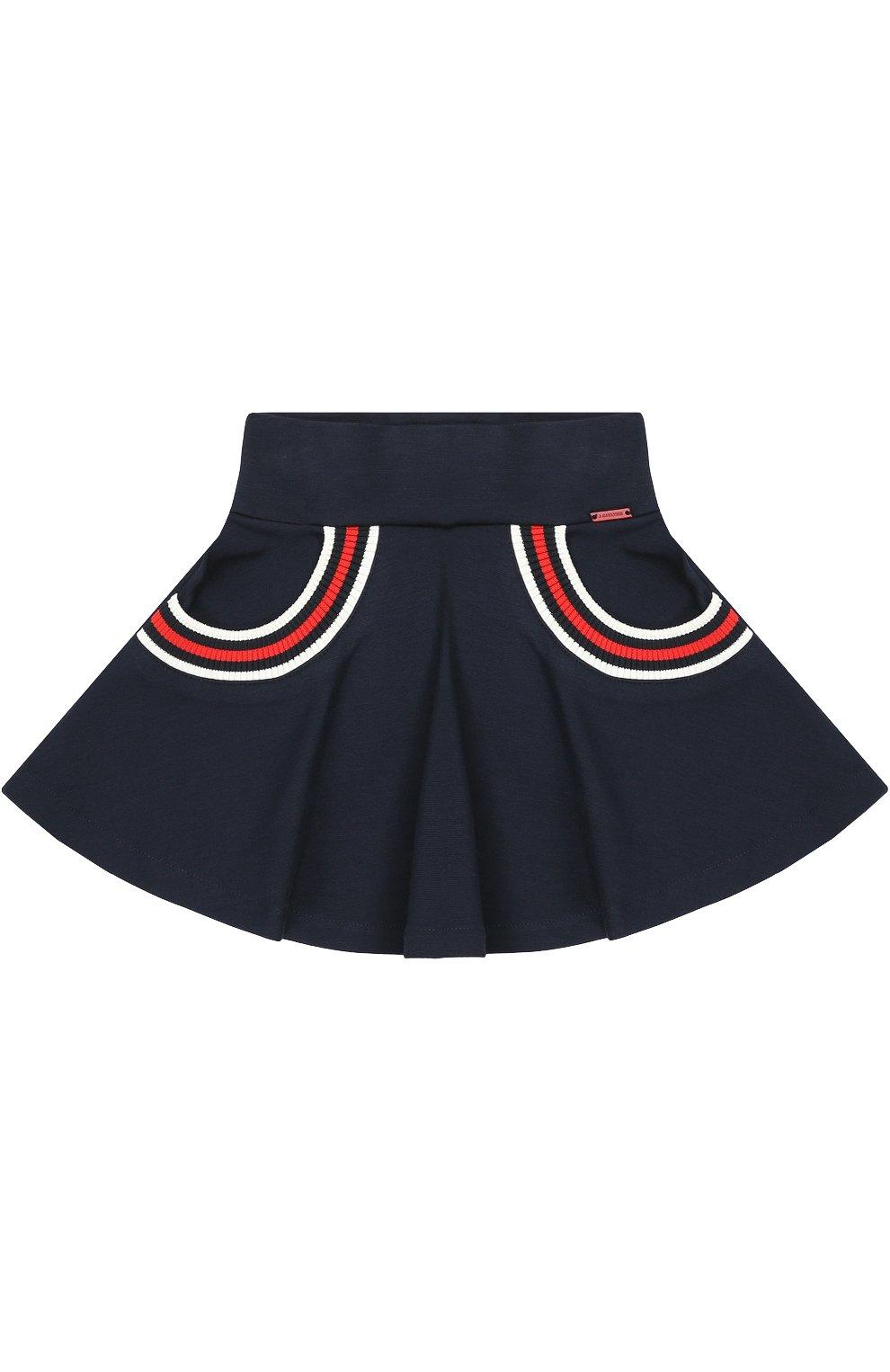 Расклешенная юбка с контрастной отделкой   Фото №1
