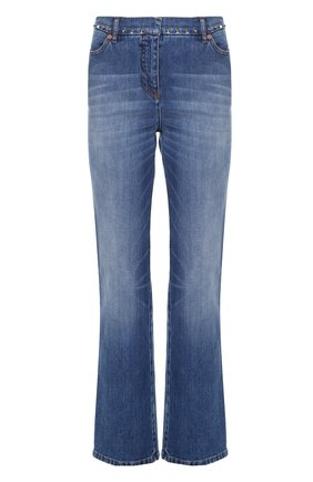 Женские джинсы прямого кроя с шипами и декоративными потертостями VALENTINO синего цвета, арт. LB3DD03B/2Q0   Фото 1