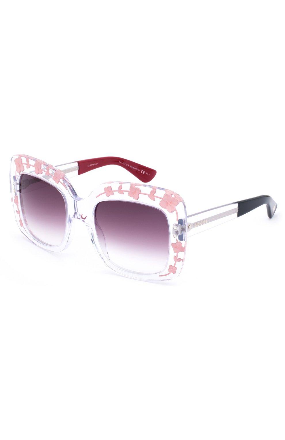 Женские солнцезащитные очки GUCCI прозрачного цвета, арт. 3863 900 J8 | Фото 1