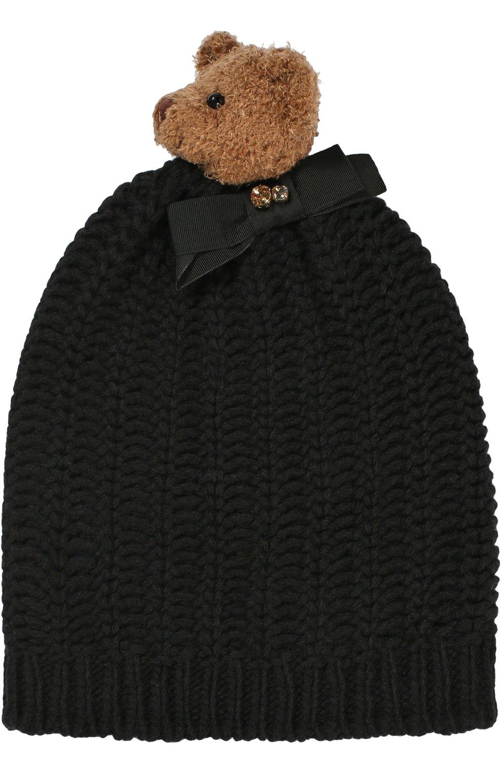 Шерстяная шапка с медведем и кристаллами Swarovski | Фото №1