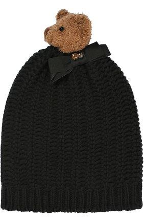 Шерстяная шапка с медведем и кристаллами Swarovski Dolce & Gabbana черного цвета | Фото №1