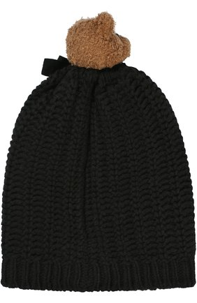 Шерстяная шапка с медведем и кристаллами Swarovski Dolce & Gabbana черного цвета | Фото №2