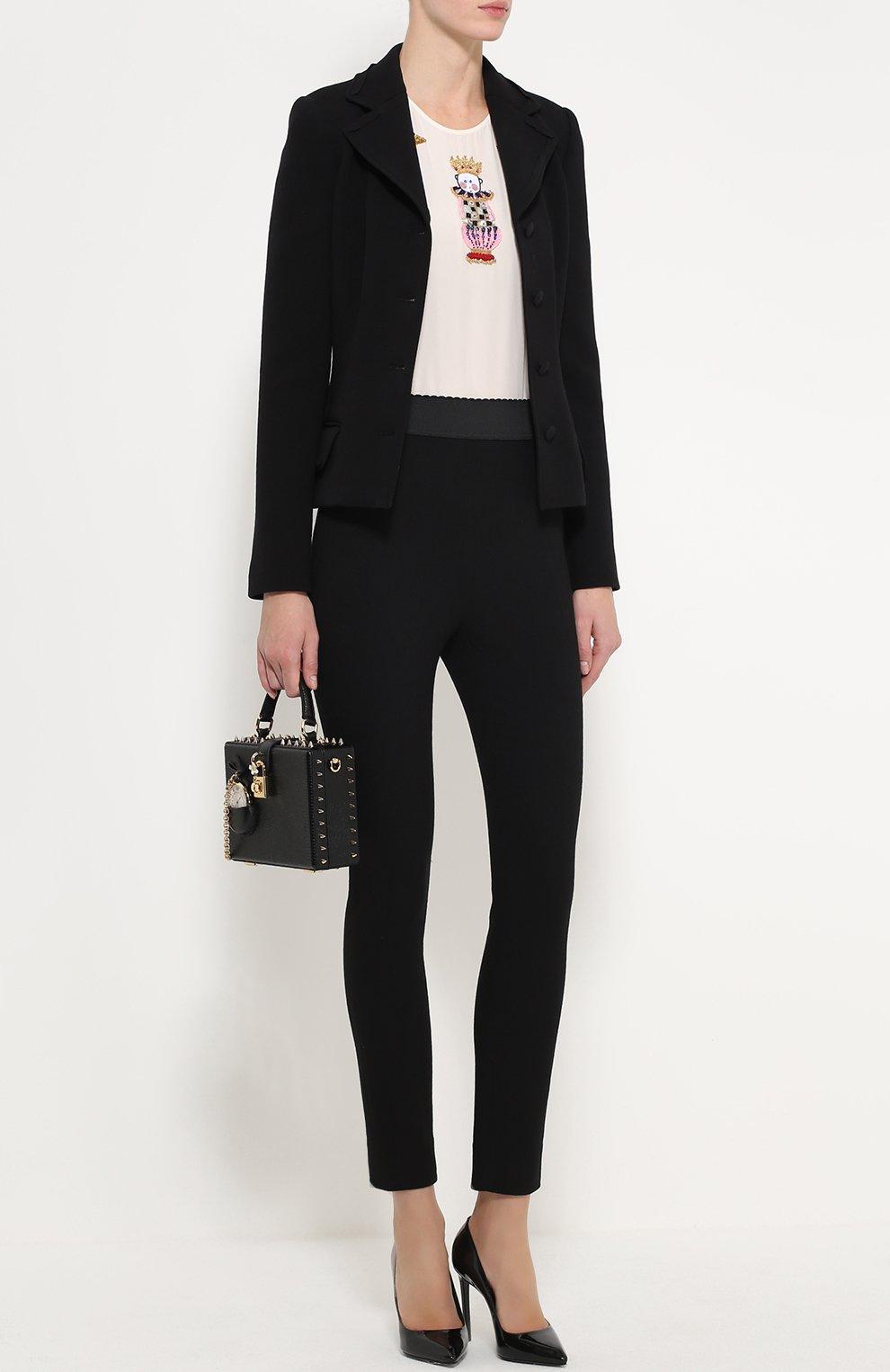 Приталенный укороченный жакет с карманами Dolce & Gabbana черный | Фото №2