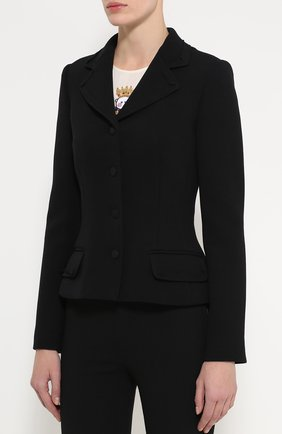 Приталенный укороченный жакет с карманами Dolce & Gabbana черный | Фото №3