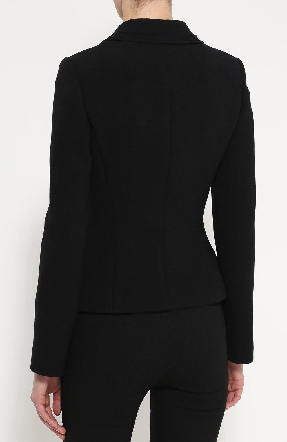 Приталенный укороченный жакет с карманами Dolce & Gabbana черный | Фото №4