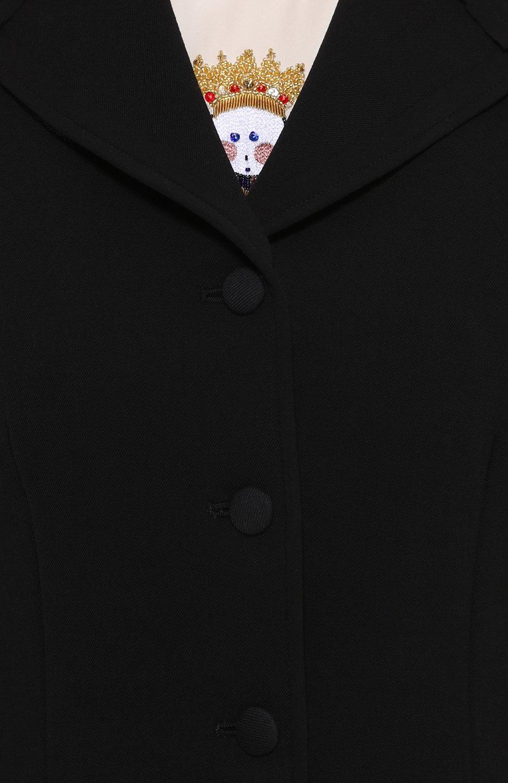 Приталенный укороченный жакет с карманами Dolce & Gabbana черный | Фото №5
