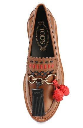 Кожаные лоферы Cuoio с декором Tod's бежевые | Фото №4