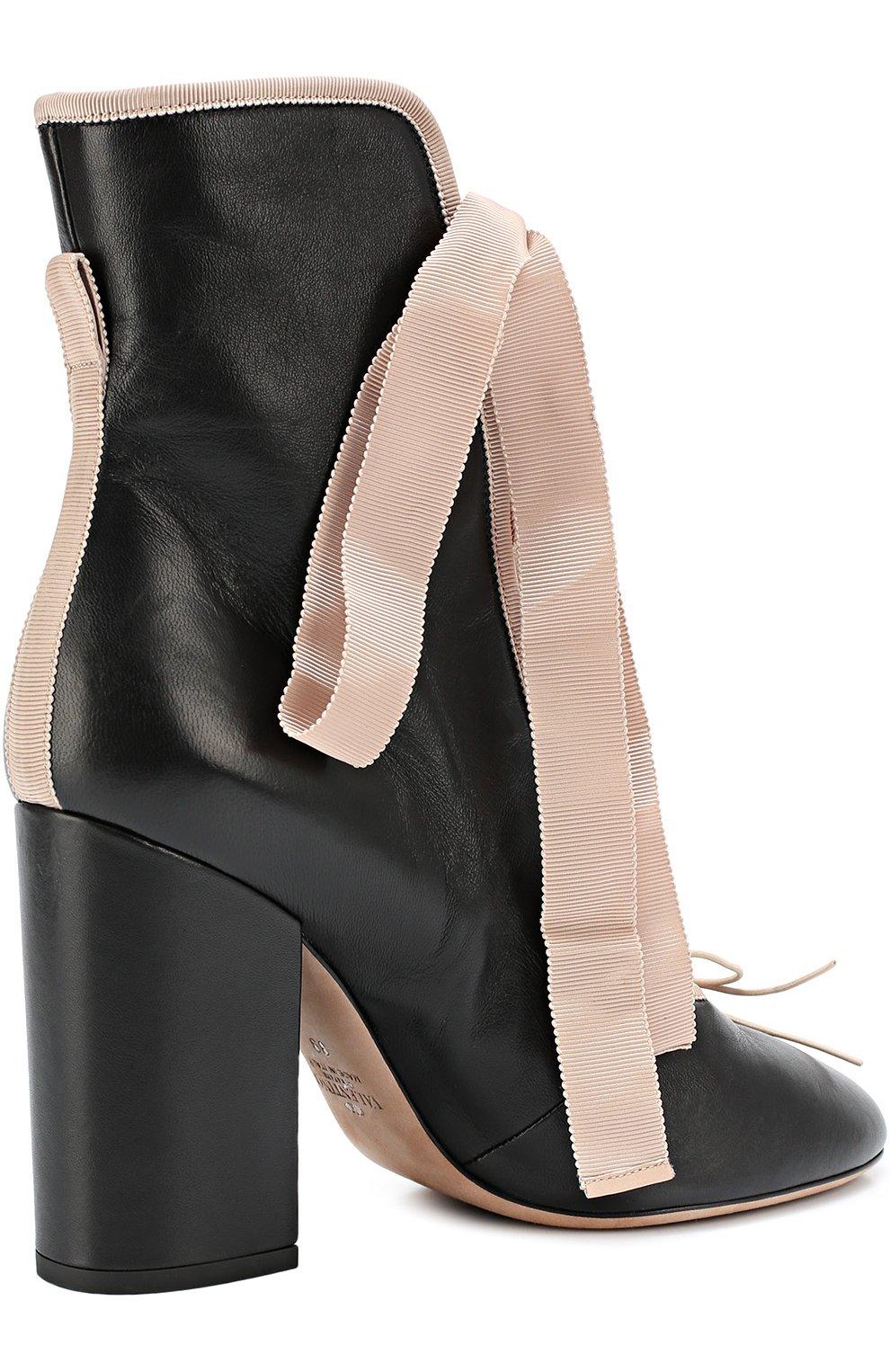 d19b38a68104 Женские черные кожаные ботильоны valentino garavani ballet с лентами ...