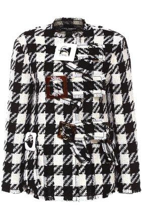 Укороченное пальто в клетку с декоративной отделкой Dolce & Gabbana черно-белого цвета | Фото №1