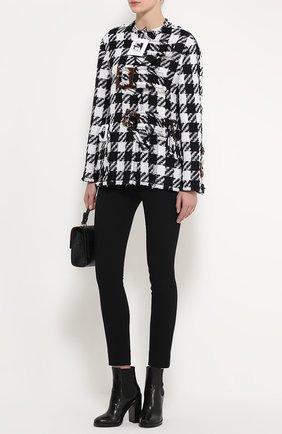 Укороченное пальто в клетку с декоративной отделкой Dolce & Gabbana черно-белого цвета | Фото №2