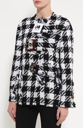 Укороченное пальто в клетку с декоративной отделкой Dolce & Gabbana черно-белого цвета | Фото №3
