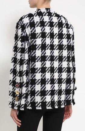 Укороченное пальто в клетку с декоративной отделкой Dolce & Gabbana черно-белого цвета | Фото №4