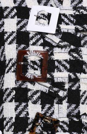 Укороченное пальто в клетку с декоративной отделкой Dolce & Gabbana черно-белого цвета | Фото №5