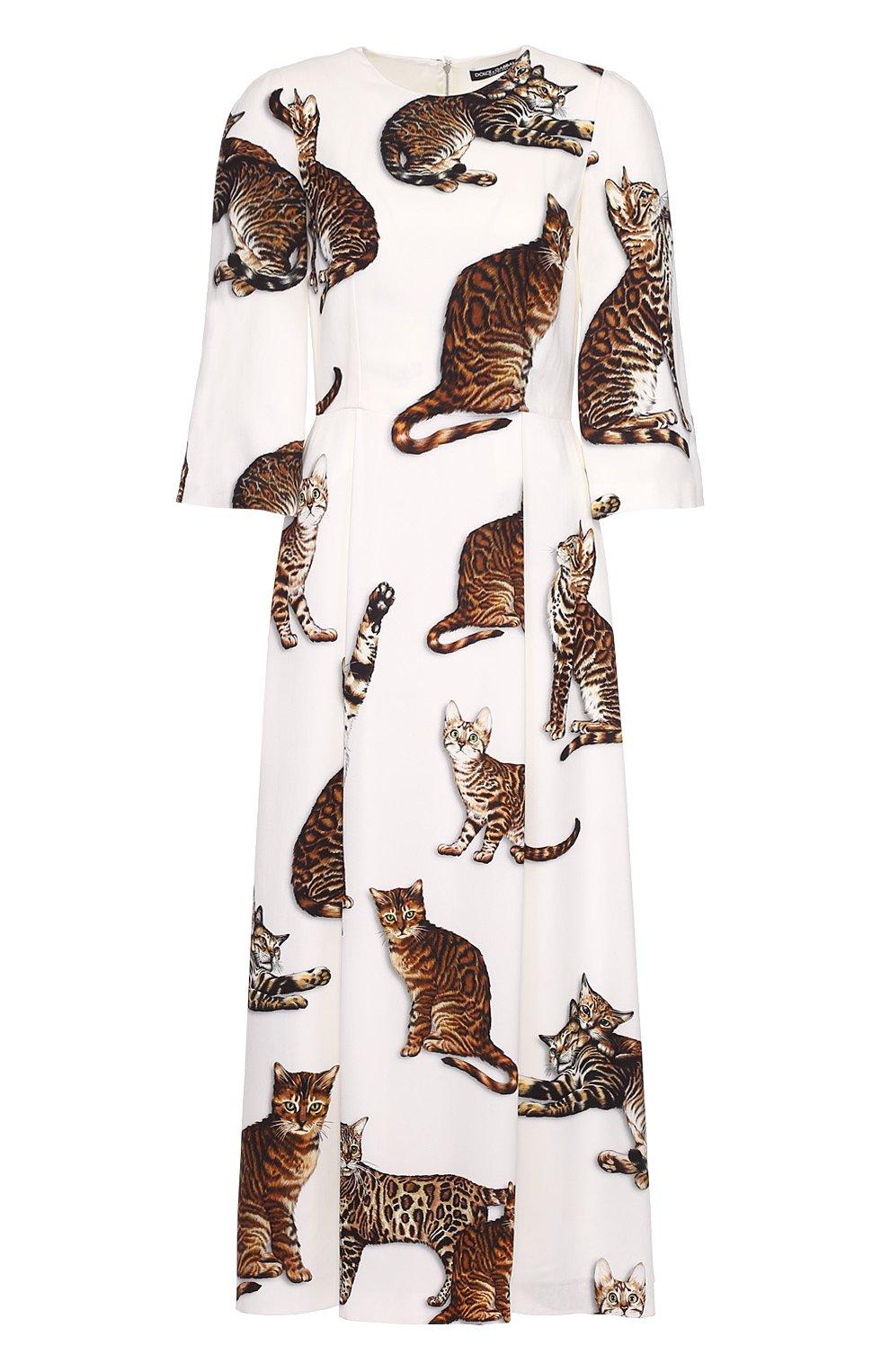 Приталенное платье-макси с принтом в виде кошек | Фото №1