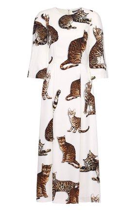 Приталенное платье-макси с принтом в виде кошек Dolce & Gabbana белое | Фото №1