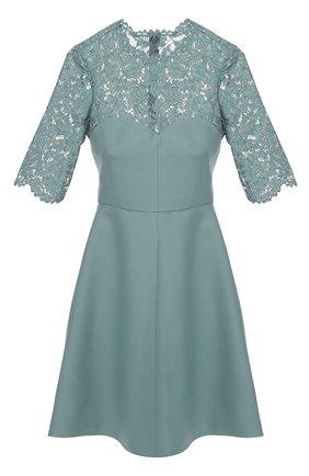 Приталенное мини-платье с кружевным лифом и коротким рукавом | Фото №1
