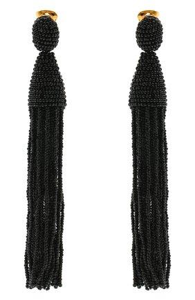 Женские серьги-клипсы из бисера OSCAR DE LA RENTA черного цвета, арт. 0J101BLK | Фото 1