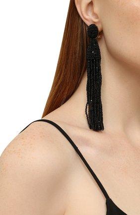 Женские серьги-клипсы из бисера OSCAR DE LA RENTA черного цвета, арт. 0J101BLK | Фото 2