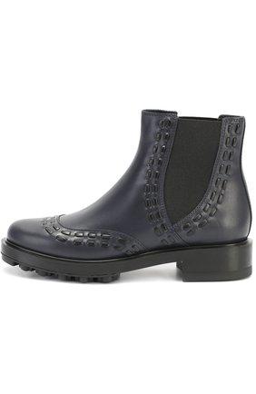 Кожаные ботинки с декором Tod's темно-синие | Фото №1