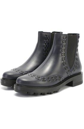 Кожаные ботинки с декором Tod's темно-синие | Фото №2