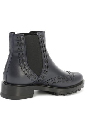 Кожаные ботинки с декором Tod's темно-синие | Фото №3