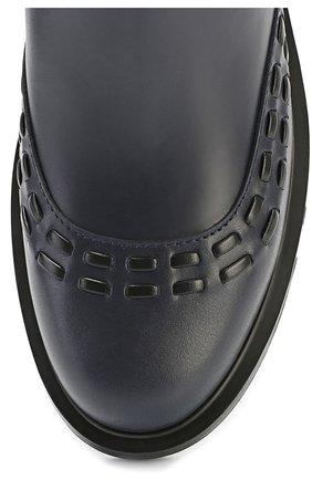 Кожаные ботинки с декором Tod's темно-синие | Фото №4