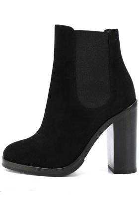 Замшевые ботильоны Lawrence на массивном каблуке Dolce & Gabbana черные | Фото №1