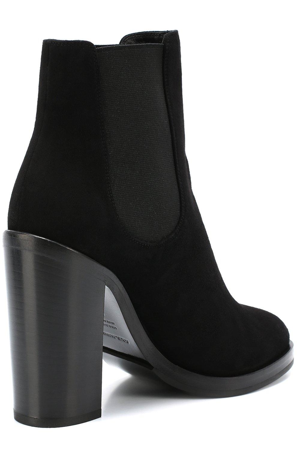Замшевые ботильоны Lawrence на массивном каблуке Dolce & Gabbana черные | Фото №3