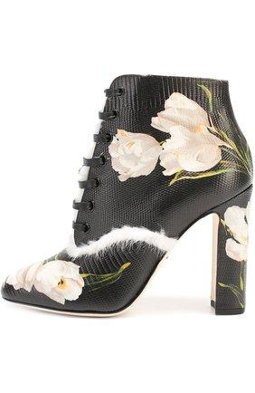Кожаные ботильоны Vally с цветочным принтом Dolce & Gabbana черно-белые | Фото №1