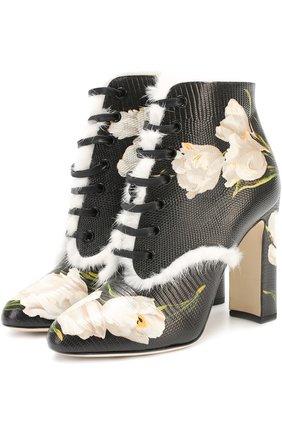 Кожаные ботильоны Vally с цветочным принтом Dolce & Gabbana черно-белые | Фото №2