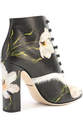 Кожаные ботильоны Vally с цветочным принтом Dolce & Gabbana черно-белые | Фото №3