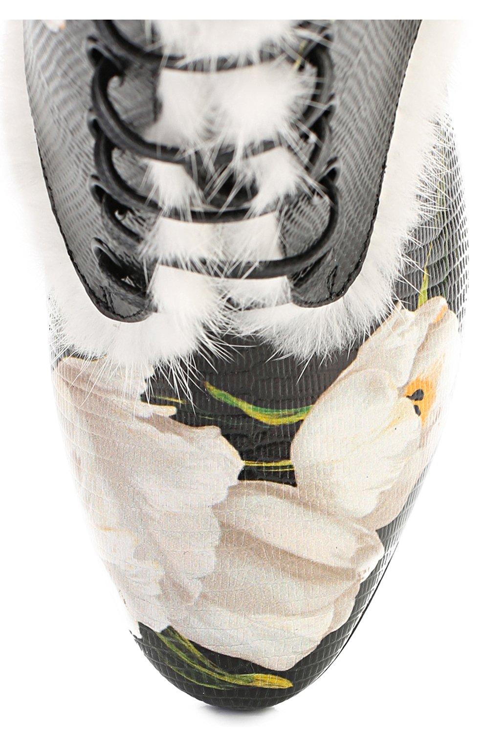 Кожаные ботильоны Vally с цветочным принтом Dolce & Gabbana черно-белые | Фото №4