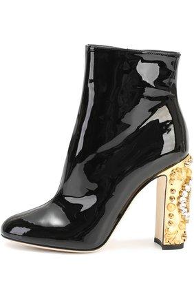 Лаковые ботильоны Vally на каблуке с декором Dolce & Gabbana черные | Фото №1