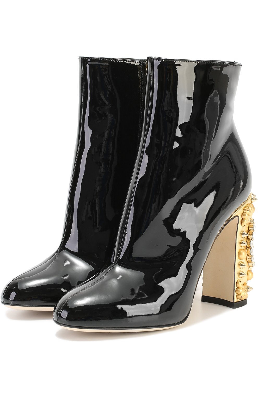 Лаковые ботильоны Vally на каблуке с декором Dolce & Gabbana черные | Фото №2