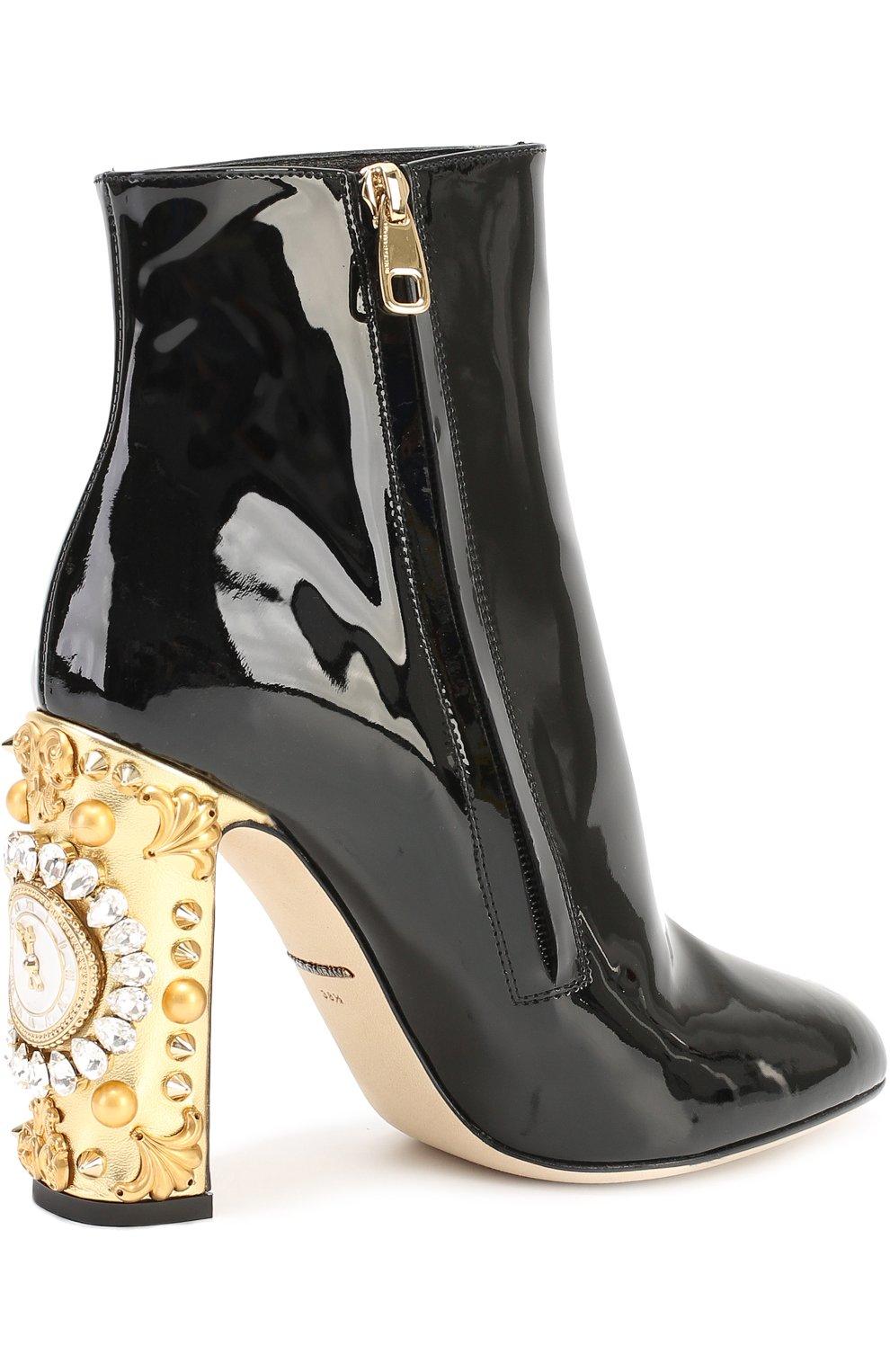 Лаковые ботильоны Vally на каблуке с декором Dolce & Gabbana черные | Фото №3