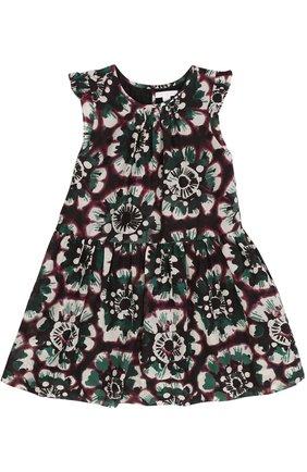 Платье из смеси хлопка и шелка с оборками и цветочным принтом   Фото №1
