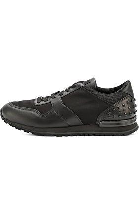 Кожаные кроссовки с текстильными вставками и фактурной отделкой Tod's черные | Фото №1