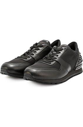 Кожаные кроссовки с текстильными вставками и фактурной отделкой Tod's черные | Фото №2